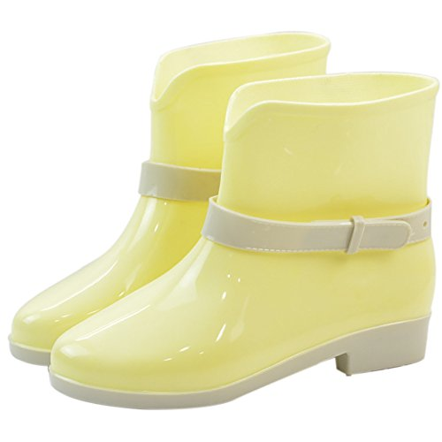 Buckle Anti Boot Shoes Womens Rubber Yellow Slip High Rain Waterproof Rain Ankle Jelly QZUnique nxf8Caw