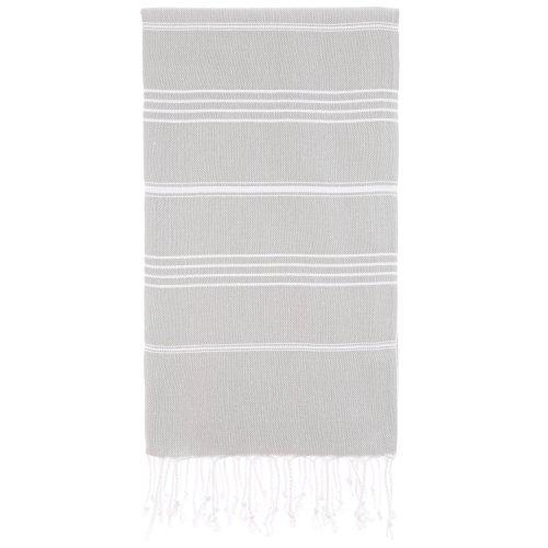 Cacala 100% Cotton Pestemal Turkish Bath Towel, 37 x 70, Silver Grey Bathroom Standard Ventilation Package