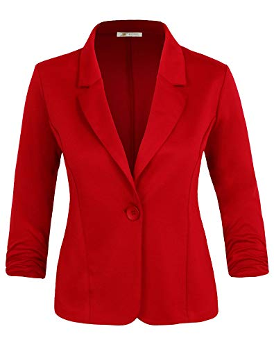 Michel Women's Basic Collar Blazer 3/4 Crunched Sleeve Button Closure Jacket RED Small