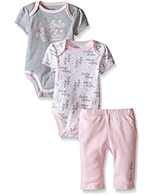 Baby Girls' 2 Printed Bodysuits and Combed Interlock Pants