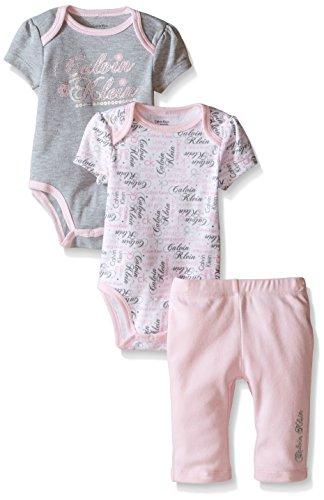 Calvin Klein Baby Girls 2 Printed Bodysuits and Combed Interlock Pants