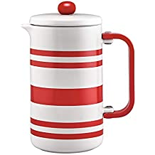 BonJour 47040 8-Cup Stoneware w/Decal French Press, Red