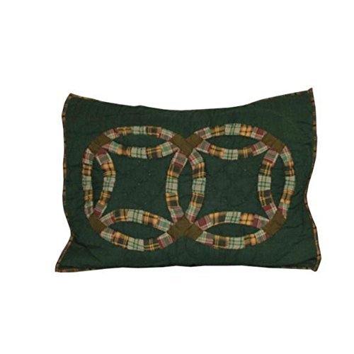 Patch Magic 27-Inch by 21-Inch Green Double Wedding Ring Pillow Sham