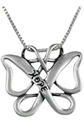 Sterling Silver Infinite Hope Celtic Butterfly Pendant