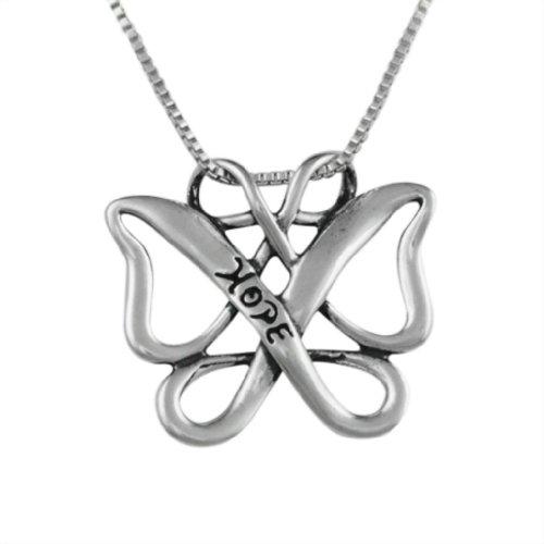 Loving Family - Sterling Silver Infinite Hope Celtic Butterfly Pendant - 18