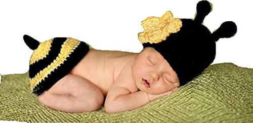 CX-Queen Baby Newborn Bee Knit Crochet Clothes Beanie Hat Outfit Photo (Queen Bee Infant Costumes)