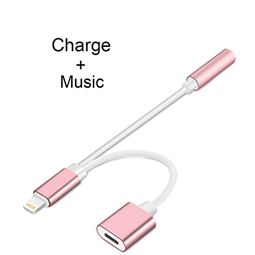 2 in 1 Lightning to 3.5mm Headphone Jack Adapter, iPhone X iPhone 8/8Plus iPhone 7/7Plus Adapter Charge and Headphone Adapter (Rose Gold)