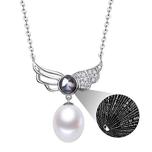 (Fine Jewelry Women Gifts for Women 925 Sterling Silver and Teardrop Pearl Pendant Necklace Wings of Angel)