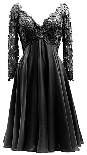 the V Bride MACloth Sleeve Gown Women Mother Neck of Formal Dress Schwarz Long Lace Midi UnRPBnqA