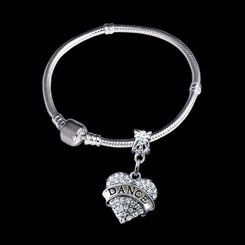 [Glamorise Beads - Dance Mom crystal heart charm bracelet dancemom best jewelry gift mother mum] (Best Dance Moms Costumes)