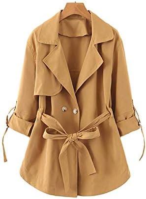 DD boutique officielle Femmes Chic Solide Lache Trench Noeud Papillon Ceintures Double Boutonnage Manteau Femme Outwear