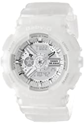Casio Women's BA-110-7A2CR Baby-G Silver-Tone Analog-Digital Display and Translucent Resin Strap Watch
