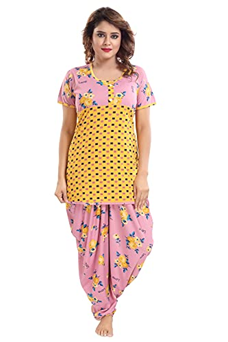 TUCUTE® Top and Dhoti Style Bottom Night Suit/Nighty/Nightdress/Night Gown for Women and Girls Size: L/XL/XXL