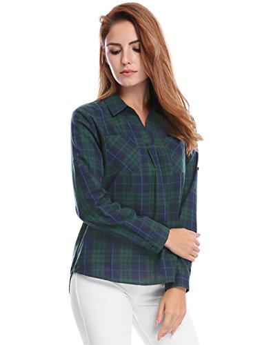 K Point Woman High Low Up Sleeves Roll Shirt Green Plaid Hem Collar Allegra gEqn0xdg