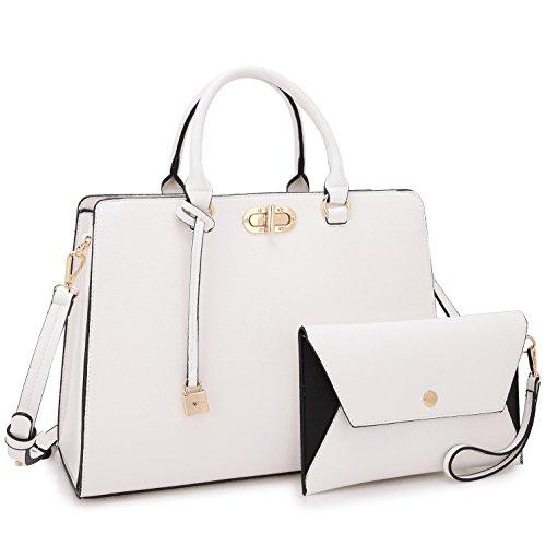 Women Designer Handbags and Purses Ladies Shoulder Bag Hobo Bag Top Handle Satchel Tote Work Bag with Wallet Wristlet (7581 White)