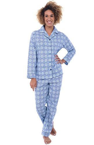 Alexander Del Rossa Womens Cotton Pajamas, Long Woven Pj Set, Small Blue Moroccan Tile (A0517V56SM) (Down Tile)