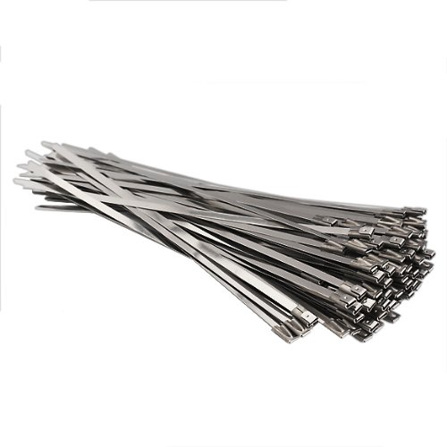 Vktech 100pcs 7.9 Inches Stainless Steel Exhaust Wrap Coated Locking Cable Zip Ties