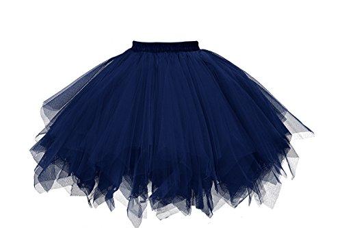 Musever 1950s Vintage Ballet Bubble Skirt Tulle Petticoat Puffy Tutu Navy ()