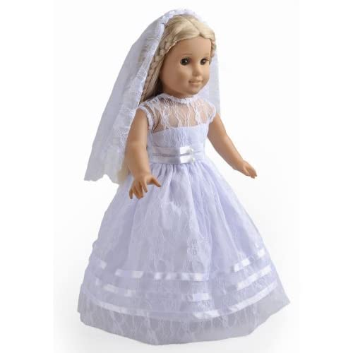2Pc Doll Clothes White Communion Dress Wedding Dress Fits 18 Inches ...