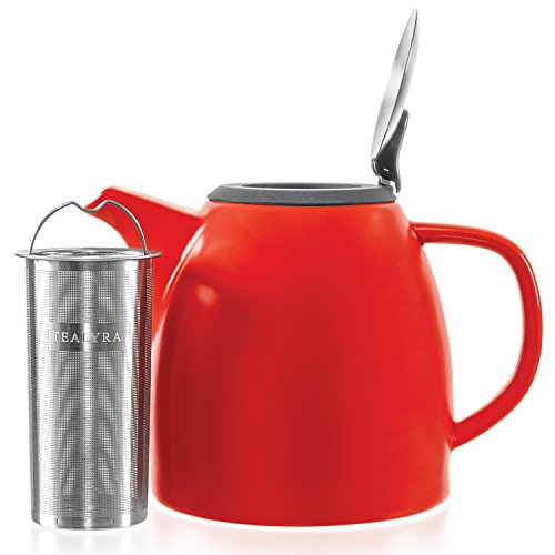 - Tealyra - Drago Ceramic Teapot in Red - 37-ounce (4-6 cups) - Large Stylish Teapot - Stainless Steel Lid Extra-Fine Infuser To Brew Loose Leaf Tea - Leed-Free - 1100ml