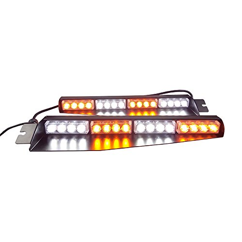 32LED 32W LED Lightbar Visor Light Windshield Emergency Hazard Warning Strobe Beacon Split Mount Deck Dash Lamp (Amber White&Amber White)