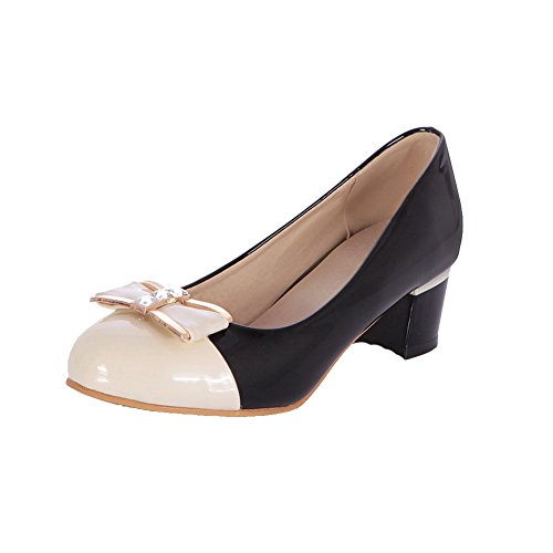 AmoonyFashion Womens Pull On Round Closed Toe Kitten-Heels Assorted Color Pumps-Shoes Black SD73Ro