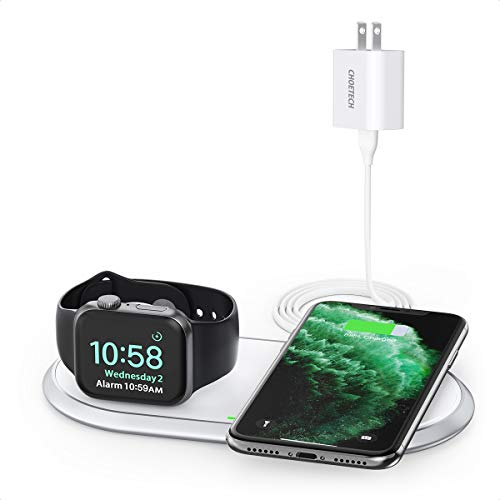 CHOETECH 2 in 1 Dual Wireless Charger (MFi Certified), Wireless Charging Pad & Foldable Apple Watch Charging Station Compatible Apple Watch 5/4/3/2/1,iPhone SE2020/11/XS/X,Airpods (with AC Adapter)