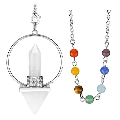 Jovivi Natural Clear Quartz Pyramid Crystal Point Pendulum with 7 Chakra Gemstones Bead Chain - Dowsing, Scrying, Healing (Clear Crystal Quartz)