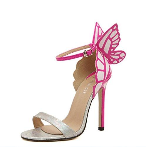LIANGXIE Talons La Hauts À 3D Peeps Haute Sandales Mariée De en Talons Femmes Main Chaussures Papillon Cuir Sandales Couture Argent Haute Ultime Pointe Lady ERxqvfrE