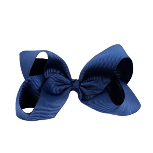 Banana Grosgrain Ribbon (GreatFun Big Hair Bow Boutique Grosgrain Ribbon Hairpins Hairpins Headwear For Women Ladies Girls (Navy Blue))