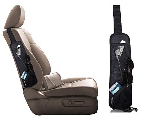 lebogner Car Side Seat Organizer, Auto Front Seat Organizer, 3 Pocket Small Driver Accessories Storage Holder, Backseat Organizer, Behind Seat Travel Organizer, Use Cars, SUV, Trucks Minivans