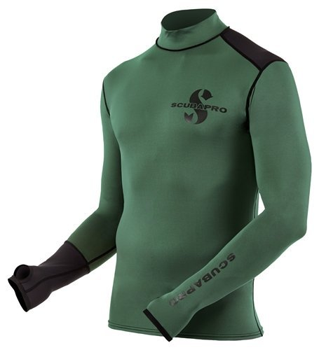 Scubapro Men's Eco Long Sleeve Rash Guard (Army Green, Small)