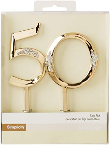 Simplicity Plastic Gold 50th Wedding Anniversary Cake Topper, 4.3