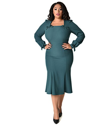 Stop Staring! 1940s Style Plus Size Forest Green Michealina Dress by Unique Vintage