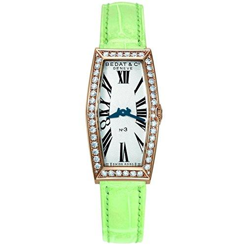 Bedat & Co Women's No.3 Diamond Green Leather Band 18K Rose Gold IP Case Quartz Analog Watch 386.430.600