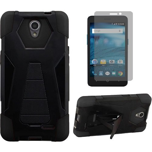 Phone Case for ZTE ZMAX-GRAND LTE , ZTE ZMAX-Champ 4G LTE (Total Wireless) Case, Warp 7 (Boost Mobile)/ ZTE Grand X 3 (Cricket Wireless) Hybrid Cover Case with Kickstand + Screen Protector (Black)