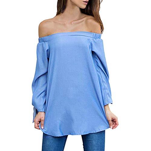 manches blanc irrgulier ourlet XL T irrgulier Dcontracte Toamen longues T Bleu fendu Femmes paule Top shirt Blouse shirt qnXA0nwta
