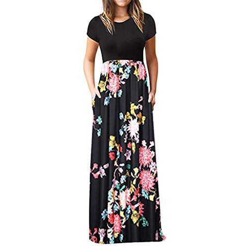 iLUGU Women's Casual Sleeve O-Neck Print Maxi Tank Long Dress