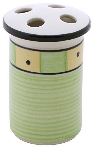 """Clearance Sale - SouvNear Toothbrush Stand 5"""" Large Hand-Painted Handmade Light Green & Yellow Ceramic - Toothbrush Holder and Case - Bathroom Art Deco Accessories"""