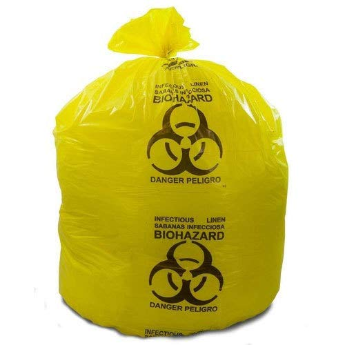 Medical Liners, Coreless Rolls, Yellow Infectious Linen Bags, 33'' Width x 39'' Length, 33 Gallon, 1.3 Mil, 65 lbs Load Capacity, 200 Per Case by Diagnostics Direct, Inc.