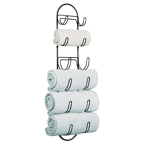mDesign Wall Mount Metal Wire Towel Storage Shelf Organizer Rack Holder with Six Compartments, Shelves for Bathroom Towels – Black