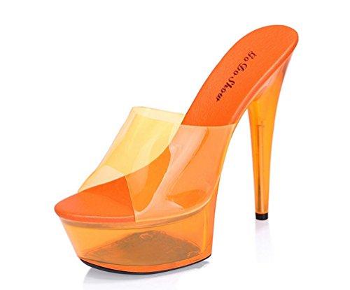ZPL Damen Sandaletten Plateau High Heels Metallic Stilettos Orange