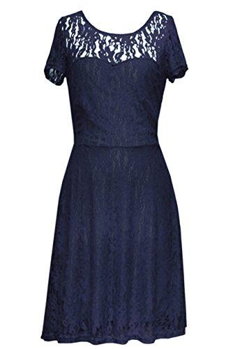 Amoluv Women Round Neck Short Sleeve Pleated Lace Slim Dress Purplish Blue Medium by Amoluv (Image #3)