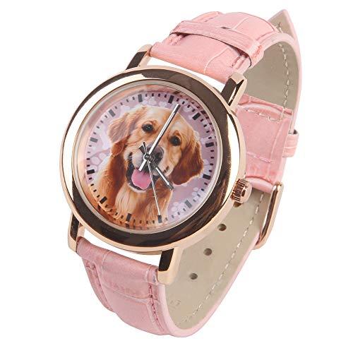 Designer Dog Rose Gold Watches for Women - Golden Retriever Dog,Pink Leather