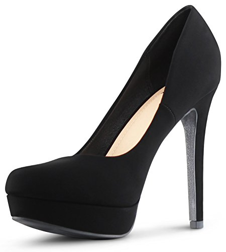 - Womens Almond Toe High Heels Platform Shoes Stiletto Dress Pumps - (Black Nubuck) - 8.5