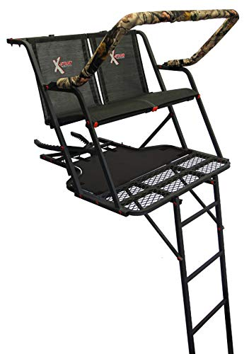 16' Ladder Treestand - X-Stand Treestands The Outback Ladderstand The Outback 16' Two-Person Ladderstand Hunting Tree Stand, Black