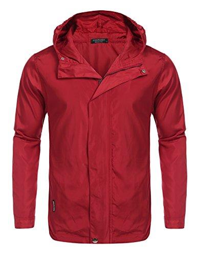 Coofandy Men's Sport Outdoor Windbreaker Track & Active Jackets Waterproof Raincoat, Red, X-Large - Hooded Nylon Windbreaker