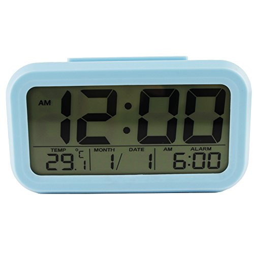 Sealive Digital Alarm Clock Smart Backlight Table Desktop Clock with Snooze Calendar Dimmer For Home Office Bedside Battery Travel Clock,Easy To Set Portable lightweight Size Travel Alarm Clocks