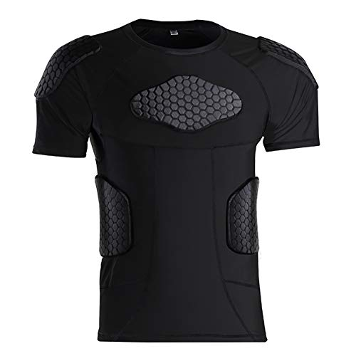 TOPWISE Sports Shock Rash Guard Compression Padded Shirt Soccer Basketball Protective Gear Chest Rib Guards for Men/Women/Kids