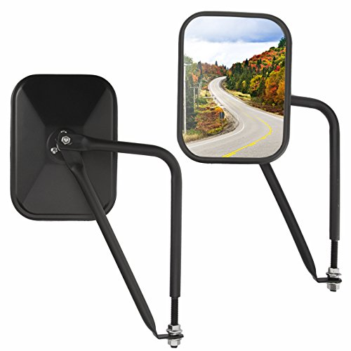 DEDC Pair Doorless Side Mirrors Jeep Door Hinge Mirrors Safari Adventure Mirrors for Jeep Wrangler All JK CJ YJ TJ off-road driving, Square with Trian